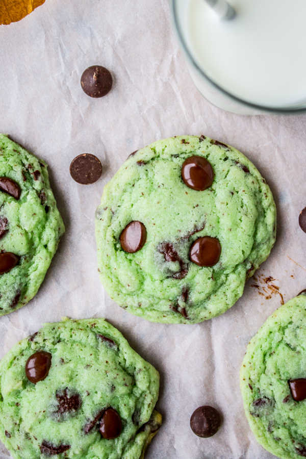 Mint Chocolate Chip Cookies fresh from the oven