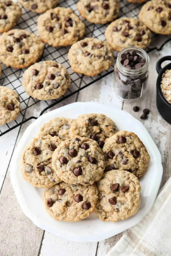 Oatmeal Chocolate Chip Cookies on a plate fresh from the oven